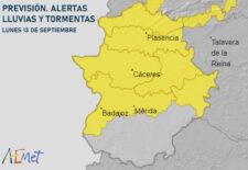Casi toda Extremadura en alerta amarilla por lluvias y tormentas este lunes y martes